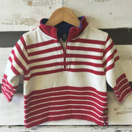 Baby Gap Red and Ivory Stripe Half Zip  Sweater
