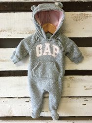 Baby Gap Grey Polka Dot Sweatshirt Sleeper