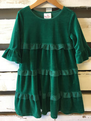 Hanna Andersson Green Velour Ruffle Twirl Dress