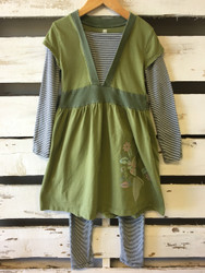 Tea Collection Olive Tunic & Striped Leggings Set