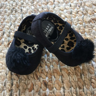 Stuart Weitzman Black Satin Slippers
