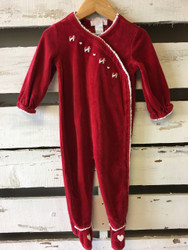 Janie & Jack Red Velour Dog One Piece Romper