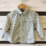 Baby Gap Ivory Blue Bird Print Button Up Shirt