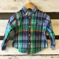 Ralph Lauren Emerald Green Plaid Button Up Shirt