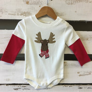 New! Gymboree Moose with Scarf Bodysuit