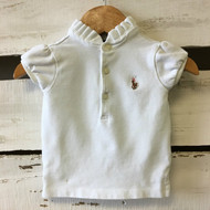 Ralph Lauren White Ruffle Collar Polo Shirt