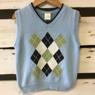 Gymboree Light Blue Argyle Vest