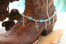 Boot Candy Turquoise Ovals with Oval Design Crosses