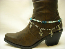 Boot Candy Sapphire Crystals, Pearls and Crosses