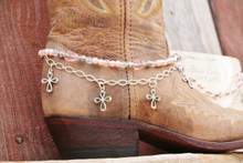 Boot Candy Pink Crystals, Pearls and Crosses