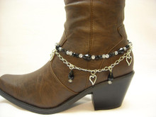 Boot Candy Black Crystals and Hearts