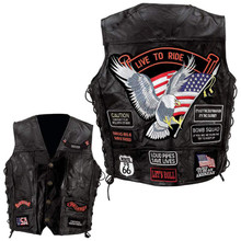 Mens Live to Ride Vest with Side Laces and Patches