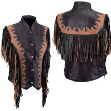 Ladies Black & Brown Fringe Vest with Euro Collar