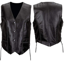 Ladies Basic Leather Vest with Braid Trim and Side Laces (Buffalo)