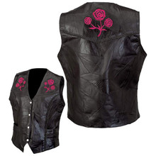 Ladies Buffalo Leather Vest Diamond Plate Rock Design