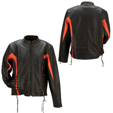 Ladies Black/Orange Solid Buffalo Leather Jacket