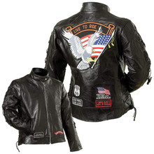 Diamond Plate Ladies Black Leather Motorcycle Jacket