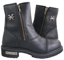 Black Leather Supremacy Double Zipper Boot
