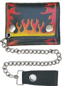 "4"" Tri-fold Chain Wallet with Red & Yellow Flames"