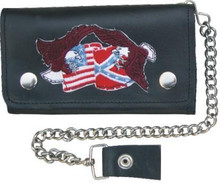 "6"" Biker wallet with 6 pockets and chain Flags & Eagles"