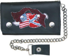 "8"" Biker wallet with 5 pockets and chain Flags & Eagles"