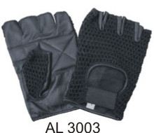 Fingerless gloves with padded palm and black mesh with Velcro strap.