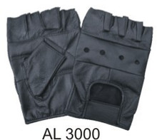 All leather fingerless gloves with padded palm velcro strap.