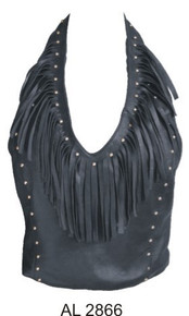 Ladies halter top with fringes & studs (Lambskin)