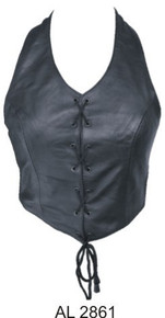 Ladies halter top with laced front (Lambskin)
