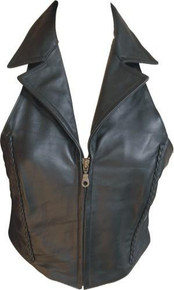 Ladies halter top with braid, zipper front, & collar (Lambskin)