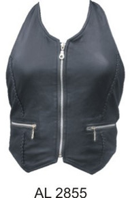 Ladies Halter top with braid & silver zipper front & two zippered pockets (Lambskin)