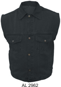 Men's Black 14.5oz. Denim Vest with Collar