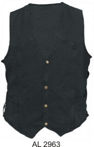 Men's Black 14.5oz. Denim Vest with side laces