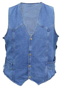 Men's Blue Denim Vest with side laces 100% Cotton
