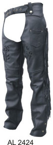 Ladies Black Rose Chaps, Lined, with Fringe & Braids