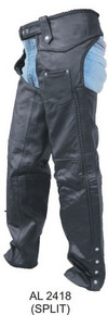 Split Cowhide Leather Plain Chaps, Braided, Lined, with Silver Hardware
