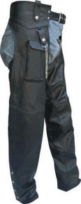 Plain Split Cowhide Leather Chaps, Lined, with Cargo Pocket
