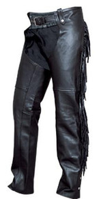 Ladies Cowhide Plain Chaps,  Fringed Down the Legs and Around the Back, with Silver Harware