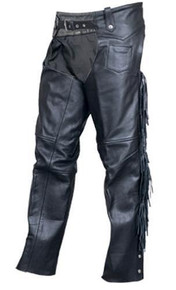 Buffalo Leather Chaps,  Braids and Fringe, Lined, with Silver Hardware