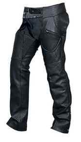 Cowhide Leather Chaps with Spandex Waist and Thighs, One Zipper Pocket, Two Regular Pockets, with Silver Hardware