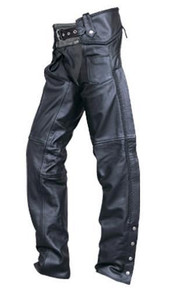 Buffalo Leather Chaps, Lined, Braided Seams, with Silver Hardware