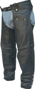 Plain Buffalo Leather Lined Chaps with Spandex in the Thigh