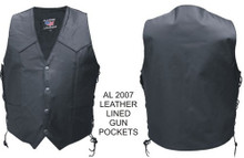 Ladies Single Panel Back Vest with 2 Inside Leather Lined Pistol Pocket with Snap Closure.  3 SNAPS IN FRONT, NOT 4 SNAPS.