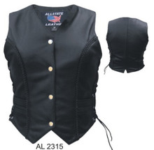 Ladies Braided front & back vest with side laces Buffalo Leather