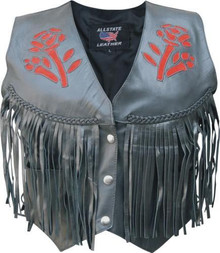 Ladies Red Rose Vest with Fringe, Braid, & Side Laces