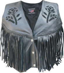 Ladies Black Rose Vest with Fringe, Braid, & Side Laces