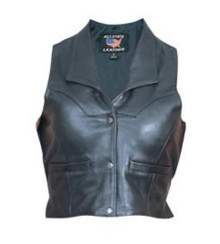 Ladies Cowhide Leather Vest with Collar and Adjustable Side Buckles