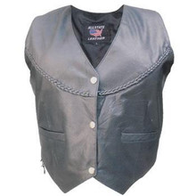 Ladies Lambskin Leather Vest with  Braided Trim