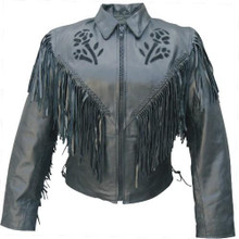 Ladies Black Rose Jacket with Fringe, Braid, Side Lace, & Zip Out Lining
