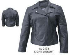 Ladies Motorcycle Jacket with Vertical Braid Front & Back. Studded Back in Black Hardware